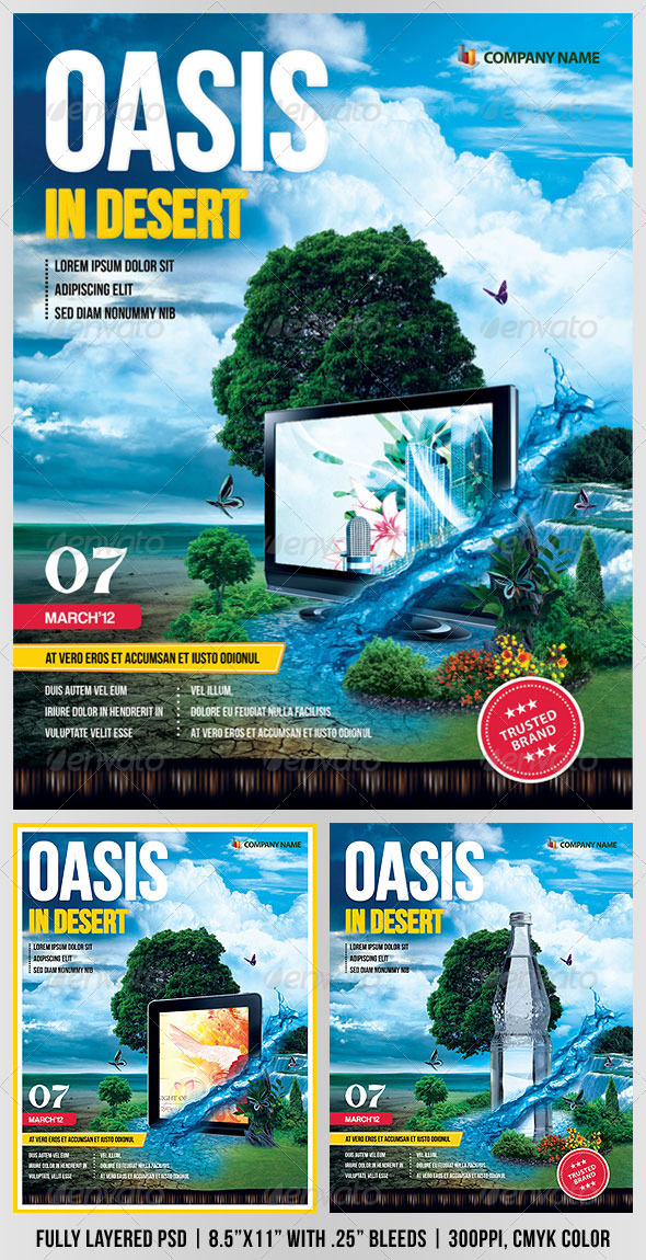 GraphicRiver Oasis In Desert Advertising Flyer 1675966