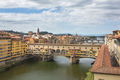 View of the beautiful city Florence with amazing bridge Ponte Ve
