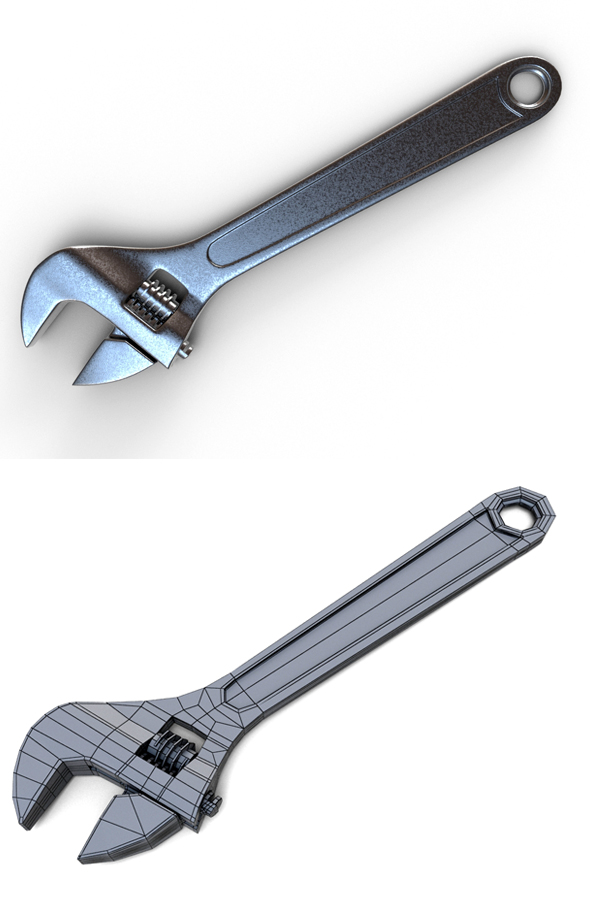 Adjustable Wrench - 3DOcean Item for Sale