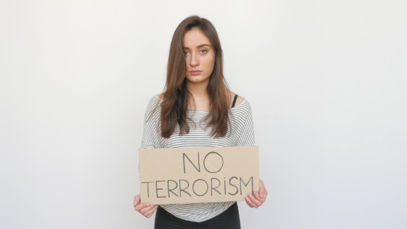 Download Girl Appearing Against Terrorism With Tablet nulled download