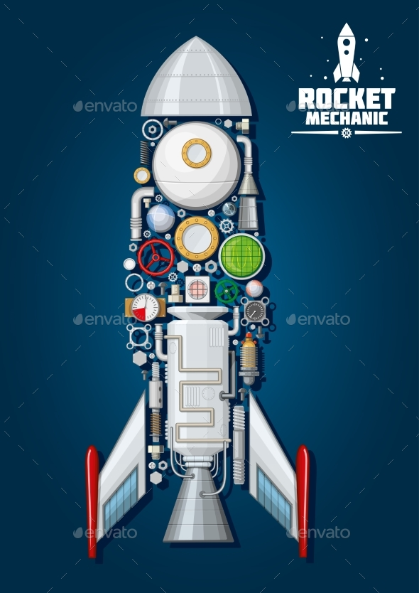 Rocket with Detailed Engine Parts Body Structure