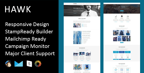Hawk - Multipurpose Responsive Email Template + Stampready Builder
