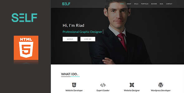 Self - HTML One Page Potfolio and Resume Cv