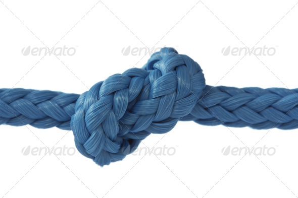 Blue Rope With Knot - Stock Photo - Images
