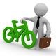 3d businessman with green bike