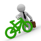 3d businessman with green bicycle