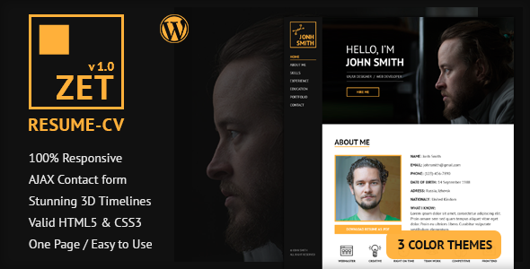 ZET - One Page Resume/Personal Portfolio WordPress Theme