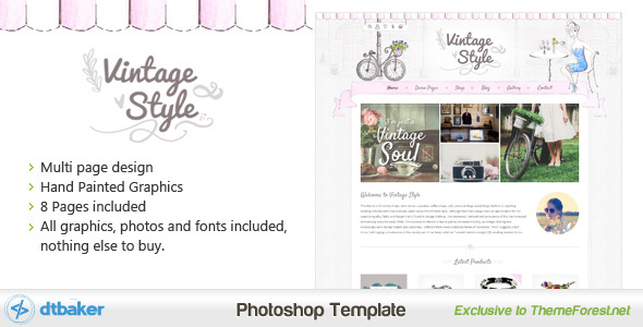Vintage+Style+Shop+and+Blog+PSD