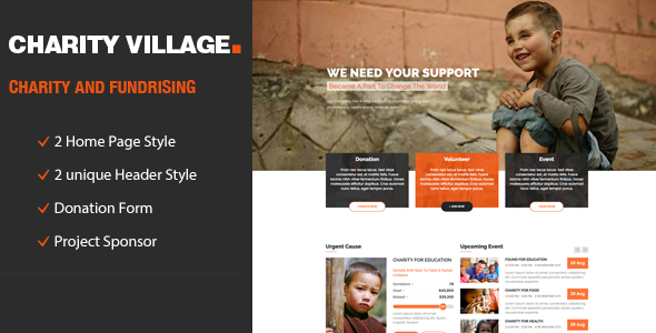 Charity Village - Responsive HTML Template for Charity & Fund Raising