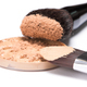 Liquid foundation sprinkled with loose cosmetic powder