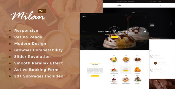 Milan : Bakery / Coffee / Vegan / Restaurant WordPress theme