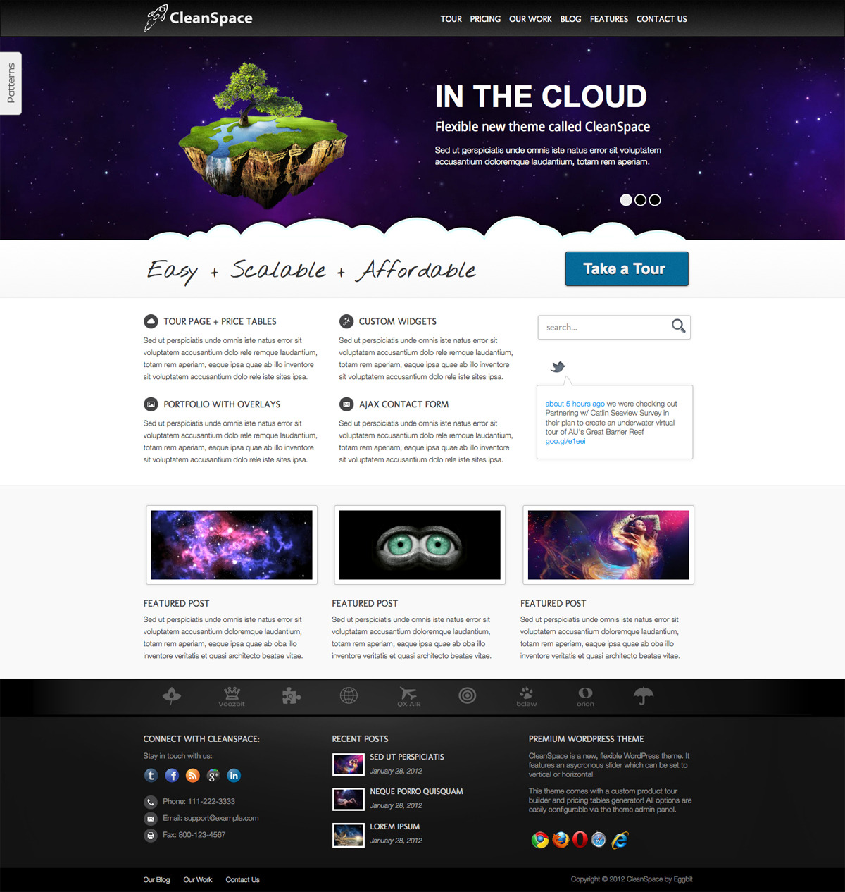 CleanSpace WordPress Theme - {\rtf1\ansi\ansicpg1252\cocoartf1038\cocoasubrtf360 {\fonttbl\f0\fswiss\fcharset0 Helvetica;} {\colortbl;\red255\green255\blue255;} \margl1440\margr1440\vieww9000\viewh8400\viewkind0 \pard\tx566\tx1133\tx1700\tx2267\tx2834\tx3401\tx3968\tx4535\tx5102\tx5669\tx6236\tx6803\ql\qnatural\pardirnatural  \f0\fs24 \cf0 Screenshot of theme homepage featuring asynchronous slider.}