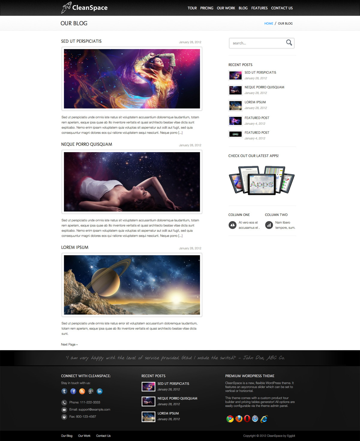 CleanSpace WordPress Theme - {\rtf1\ansi\ansicpg1252\cocoartf1038\cocoasubrtf360 {\fonttbl\f0\fswiss\fcharset0 Helvetica;} {\colortbl;\red255\green255\blue255;} \margl1440\margr1440\vieww9000\viewh8400\viewkind0 \pard\tx566\tx1133\tx1700\tx2267\tx2834\tx3401\tx3968\tx4535\tx5102\tx5669\tx6236\tx6803\ql\qnatural\pardirnatural  \f0\fs24 \cf0 Screenshot of theme blog page.}