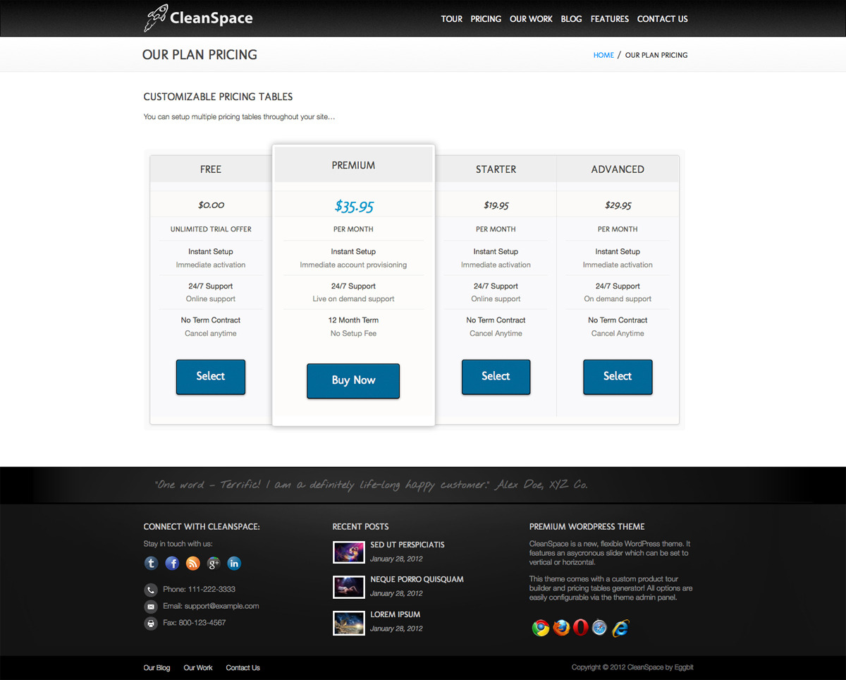 CleanSpace WordPress Theme - Screenshot of pricing page.