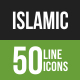 Islamic Line Green & Black Icons