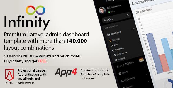 Download Infinity - Laravel Admin Theme + Front End + Advanced Authentication + Social Authentication nulled download