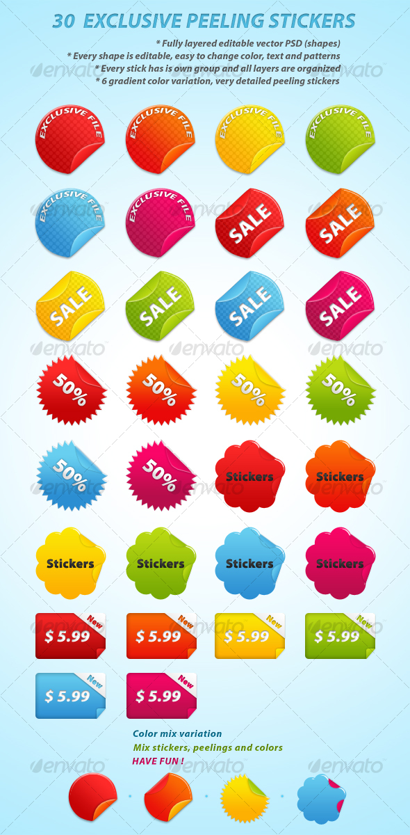 GraphicRiver 30 EXCLUSIVE PEELING STICKERS 65590