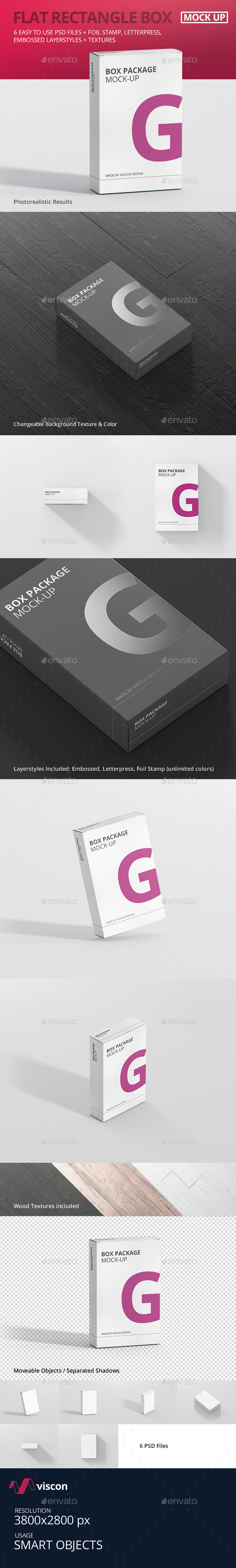 Package Box Mock-Up - Flat Rectangle