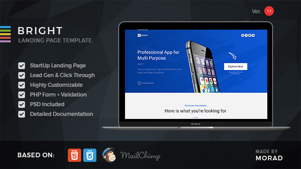 Bright - Apps Startup Landing Page