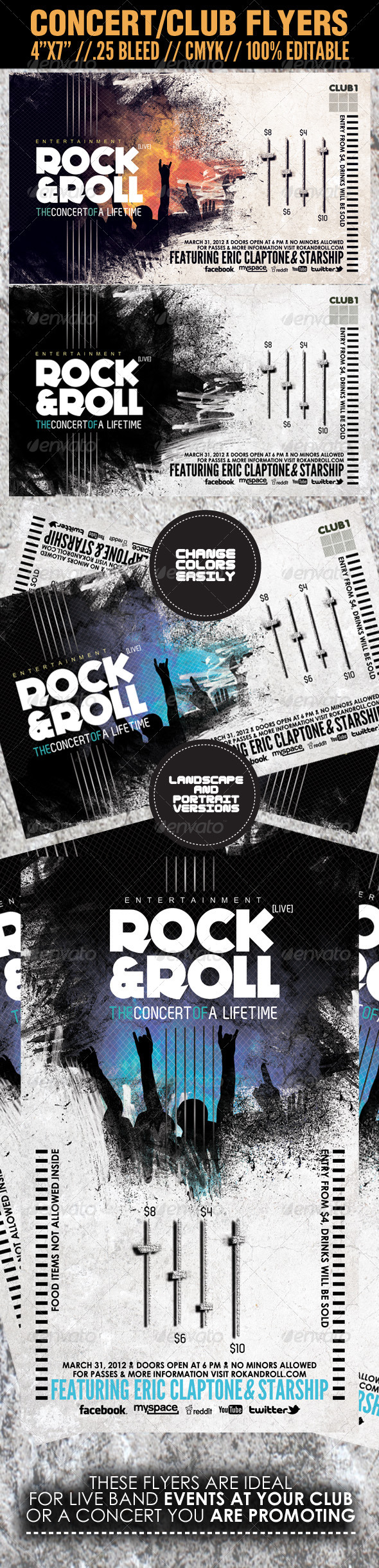 Concert Club Flyer Template Rock and Roll