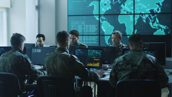 Download Group of Military IT Professionals on Briefing in Monitoring Room nulled download