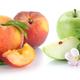 Fruits apple orange lemon nectarine apples oranges fresh fruit in a row isolated on white