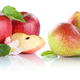 Apple and pear apples pears fruit red fruits slice isolated