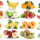 Fruits apple orange berries apples oranges banana strawberry fruit collection isolated on white