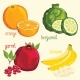 Fresh Fruit Mix Isolated, Vector Illustration