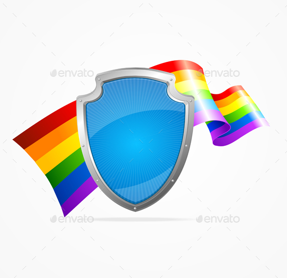 Lgbt Flag and Shield
