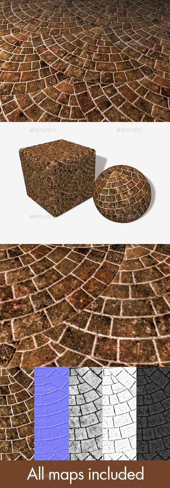 3DOcean Brick Paving Circle Seamless Texture 16877811