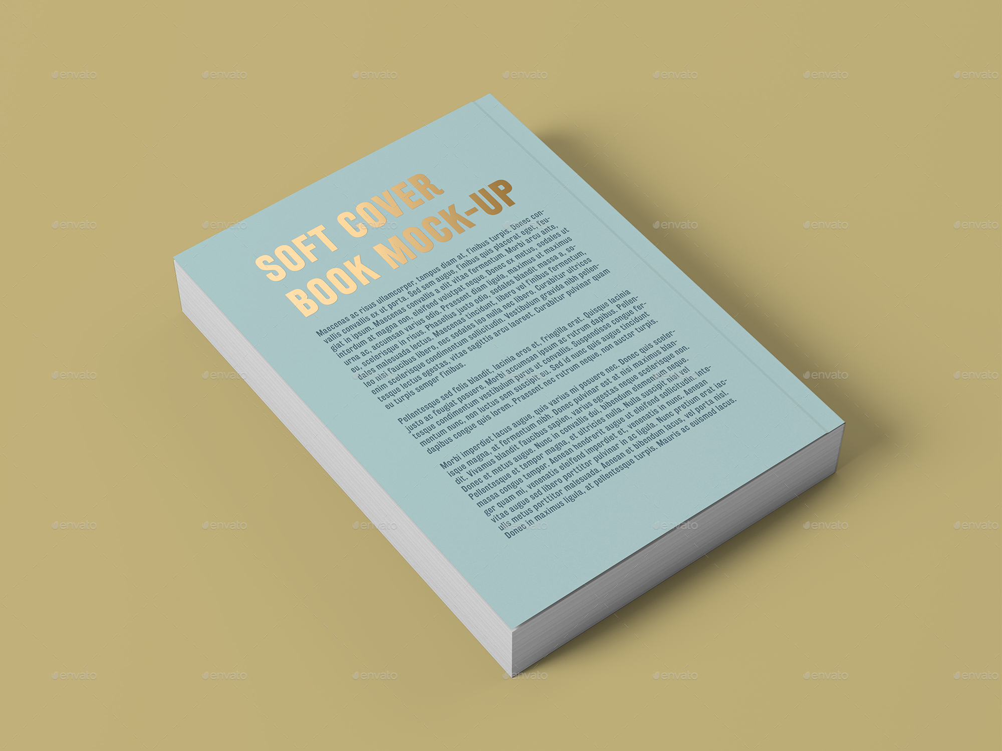 Vintage Soft Cover Book Mock Up ~ Soft cover book with foil stamping mock up by professorinc