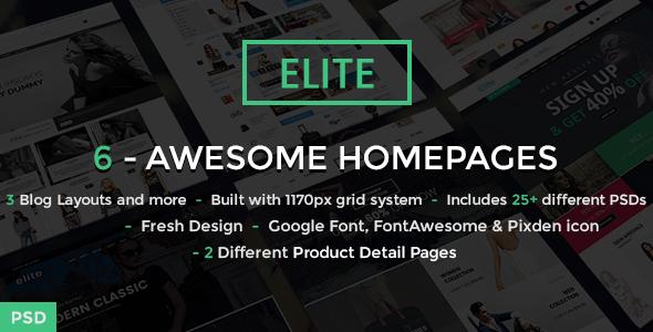 Elite - Ecommerce Shop PSD Template