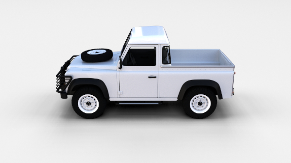 Land Rover Defender 90 Pick Up w interior rev - 3DOcean Item for Sale