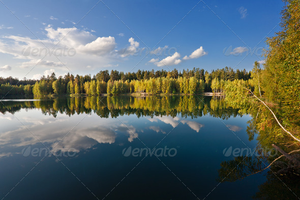 autumnal lake near the forest - Stock Photo - Images