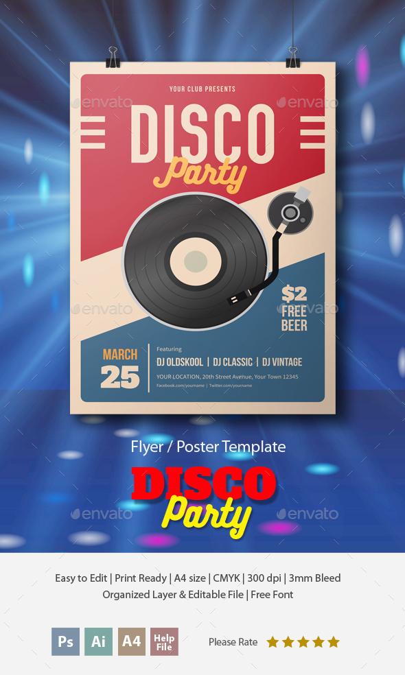 Retro Disco Party Flyer
