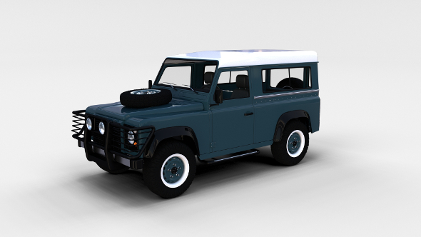Land Rover Defender 90 Station Wagon w interior rev - 3DOcean Item for Sale