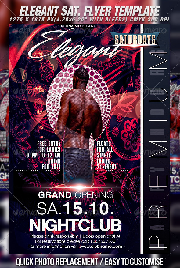 Elegant Saturdays Flyer Template - Clubs & Parties Events