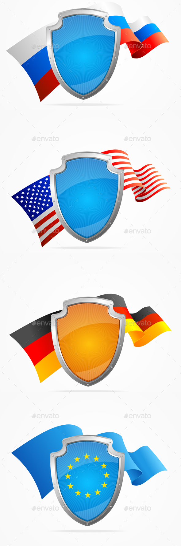 Country Flag and Shield Set. Vector