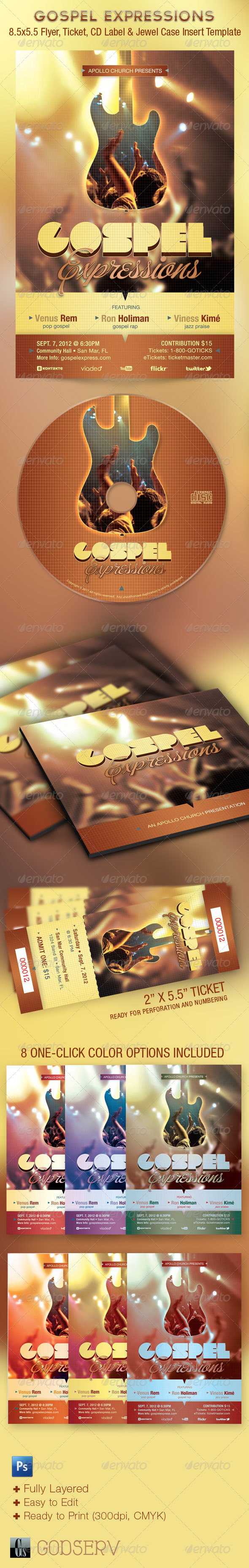 Gospel Expressions Flyer Ticket and CD Template