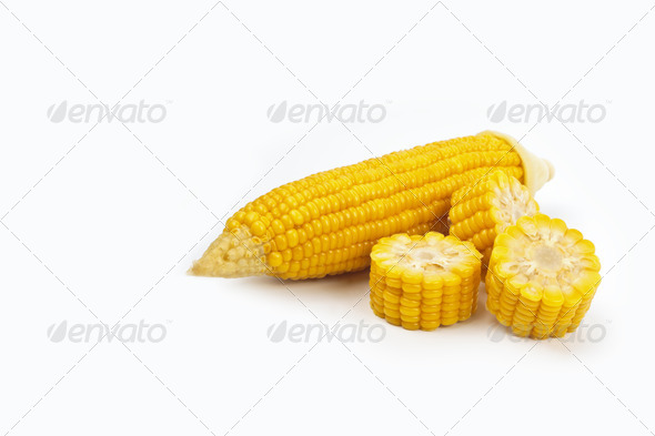 Boiled chopped corn. Isolated on the white. - Stock Photo - Images