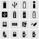 Vector Black Usb Icon Set