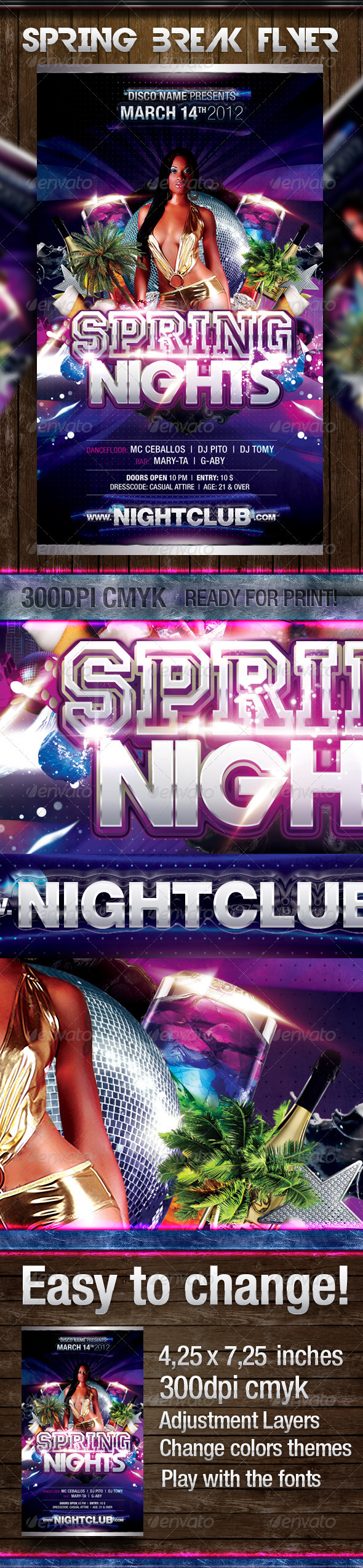 Spring Night Party Flyer - Events Flyers
