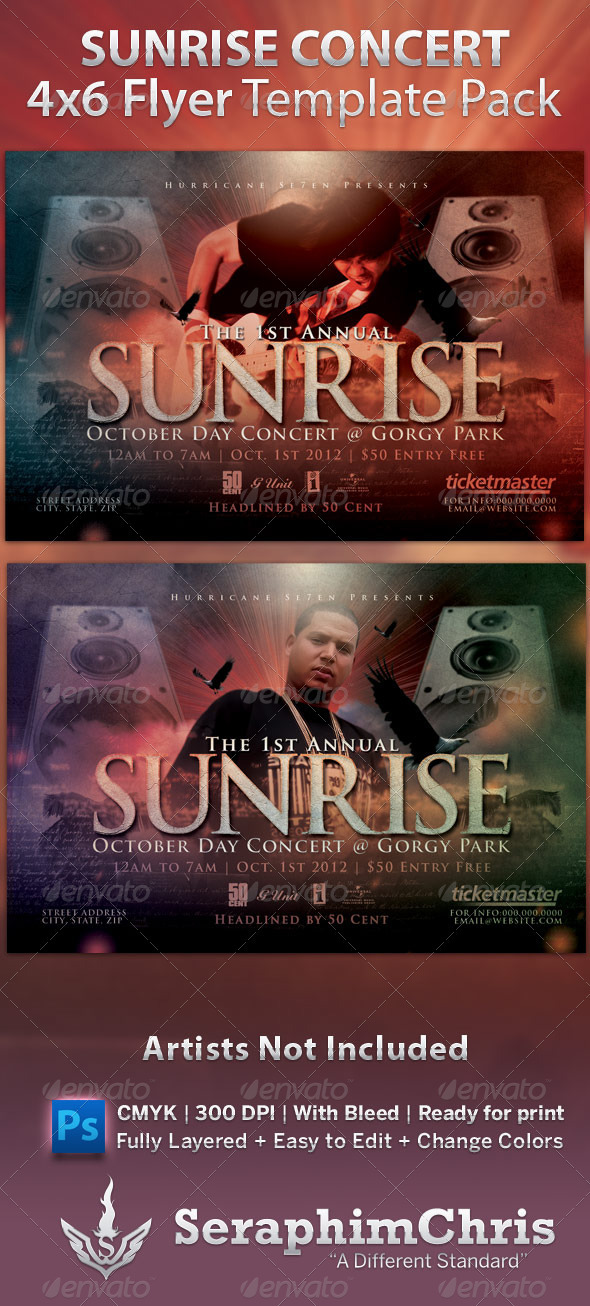 GraphicRiver Sunrise Concert Flyer Template 535148