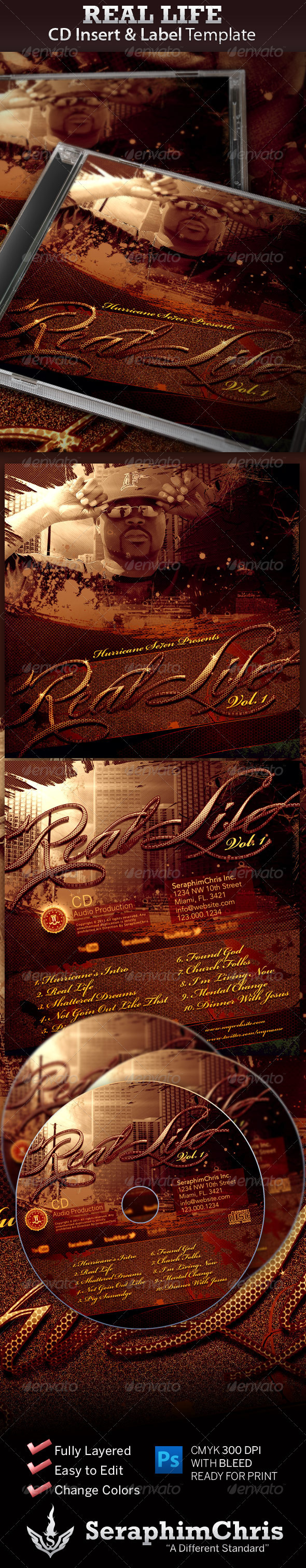Graphic River Real Life CD Insert and Label Print Templates -  CD & DVD artwork 728078