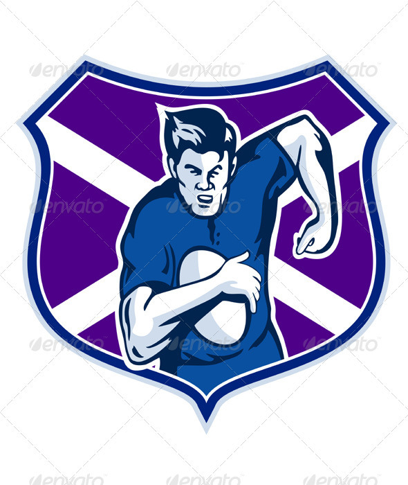 Rugby Player With Scotland Flag Shield