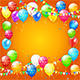 Multicolored Balloons and Confetti on Orange Background