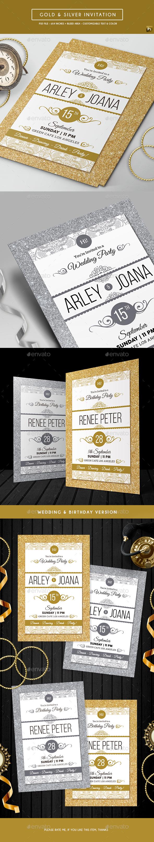 Gold & Silver Invitation