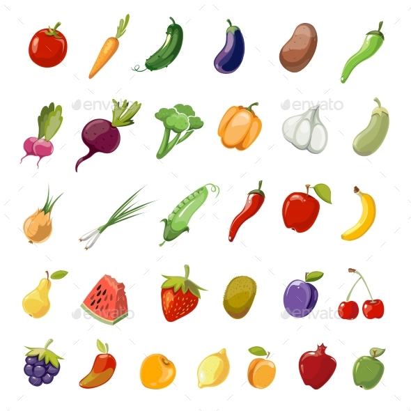 Cartoon Fruit and Vegetables Organic Healthy