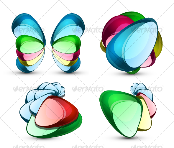 Set of abstract glass symbols - Abstract Conceptual